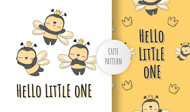 플랫 귀여운 아기 꿀벌 동물 패턴 일러스트