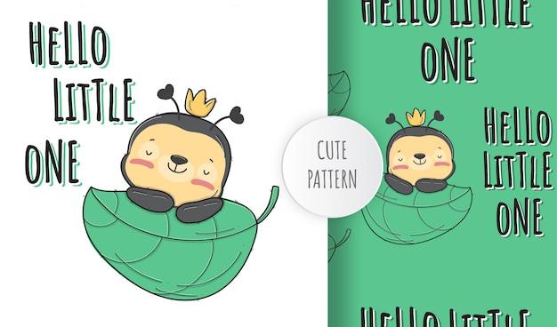 Flat cute baby bee animal pattern illustration