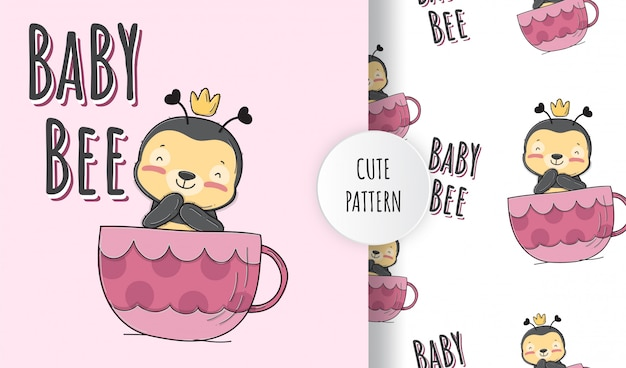 Flat cute baby bee on  the cup animal pattern illustration
