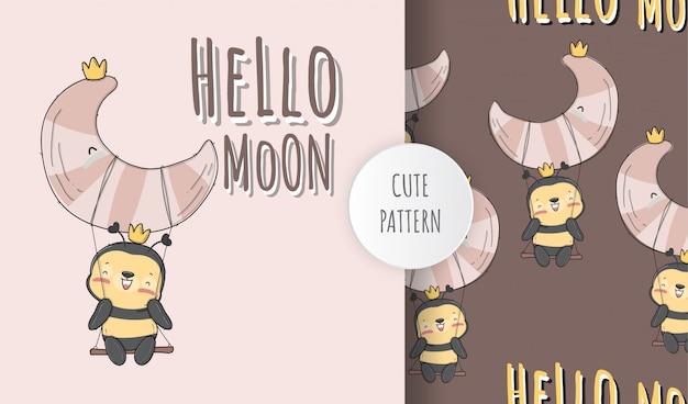 Flat cute baby bee on the moon animal pattern illustration