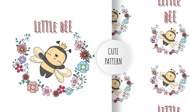 Flat cute baby bee with flowers animal  illustration