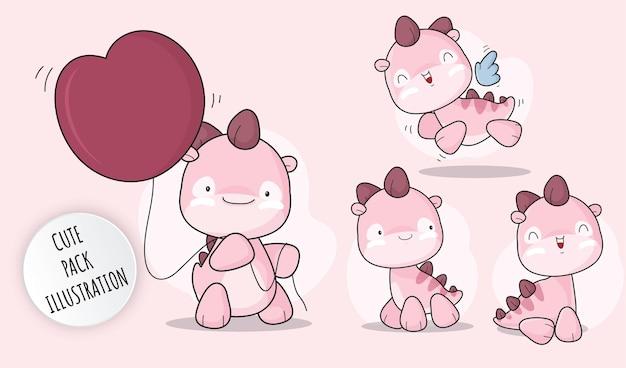 플랫 귀여운 아기 디노 핑크 컬렉션 일러스트 세트