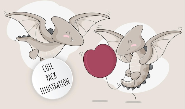 Flat cute baby pterosaurs collection illustration set