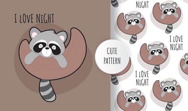 Flat cute baby raccoon on the moon pattern set