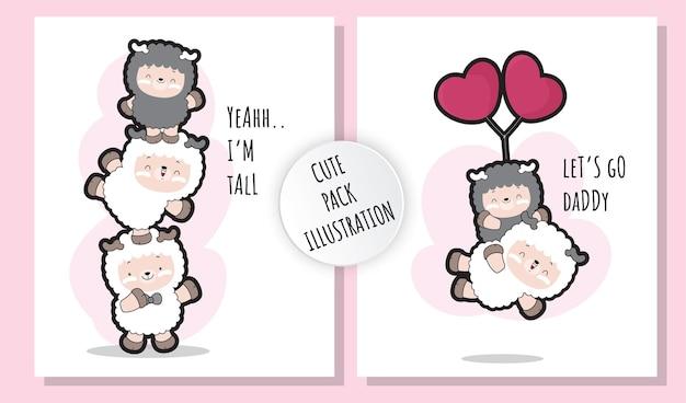 Набор плоских милых маленьких овец