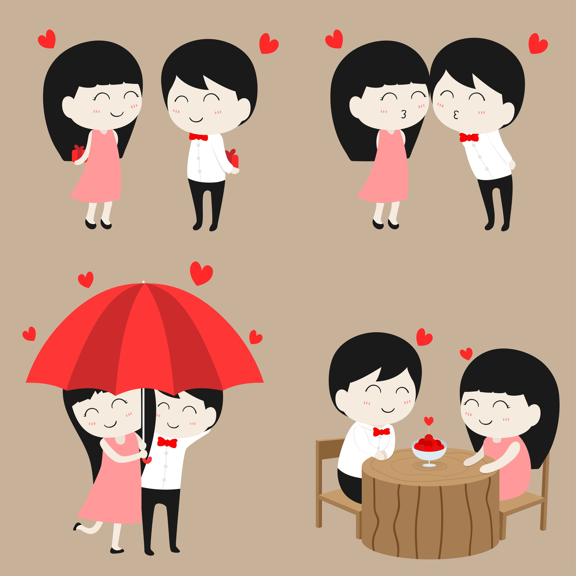 Flat Cute Cartoon Character Couple Love in Valentine's Day collection set