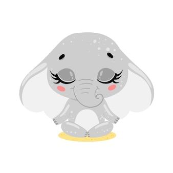 フラットかわいい漫画落書き象瞑想熱帯ジャングル動物瞑想動物ヨガ