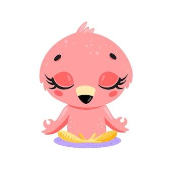평평한 귀여운 만화 낙서 플라밍고 명상 열대 정글 동물 명상 동물 요가