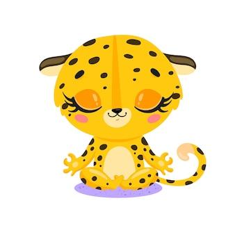 フラットかわいい漫画落書きヒョウ瞑想熱帯ジャングル動物瞑想動物ヨガ