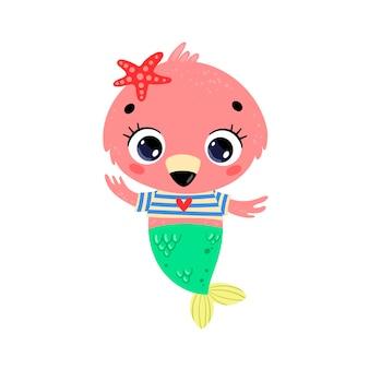 플랫 귀여운 만화 플라밍고 인어. 여름 열대 동물