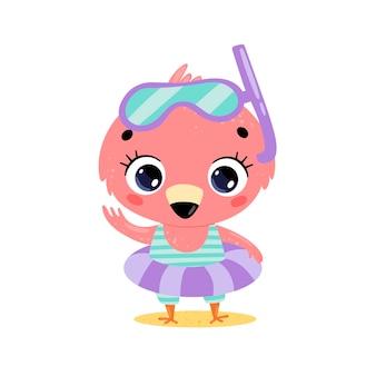 수영 반지와 다이빙 마스크와 평면 귀여운 만화 여름 플라밍고. 해변에서 여름 열대 동물