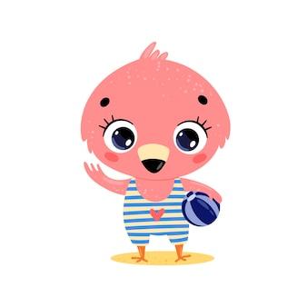 해변에서 플랫 귀여운 만화 여름 열 대 동물. 비치 볼과 아기 플라밍고