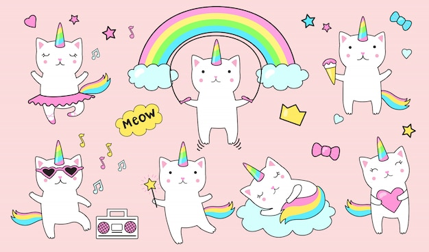 Flat cute caticorns sticker set