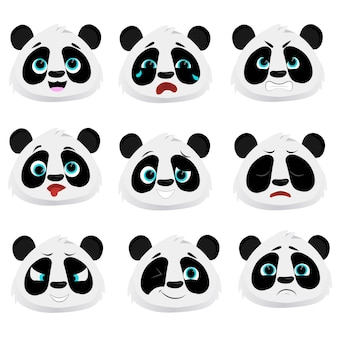 Плоский милый персонаж смешная панда коллекция