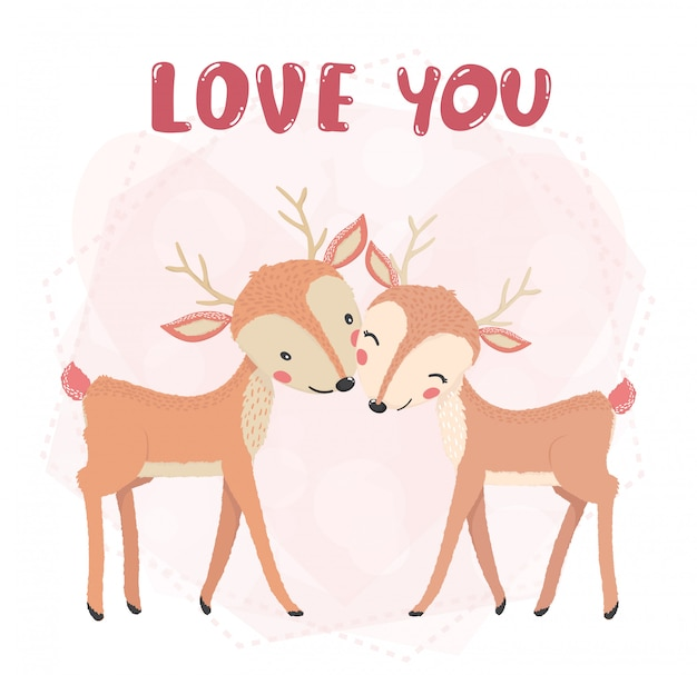 Flat  cute couple reindeer smile, kiss with love you word, valentine card, cute animal character idea for child and kid printable stuff and t shirt, greeting card, nursery wall art, postcard