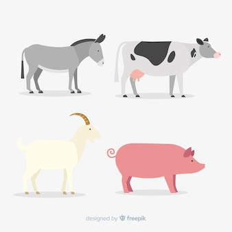 Flat cute farm animal collection