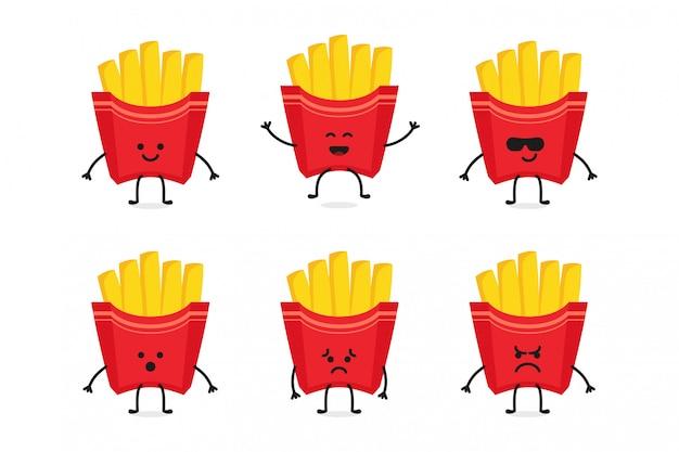 Flat cute fries character illustration & mascot