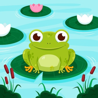 Flat cute frog illustration