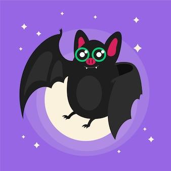 편평한 귀여운 할로윈 박쥐