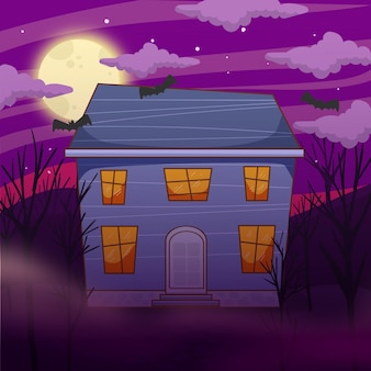 Flat cute halloween house illustration