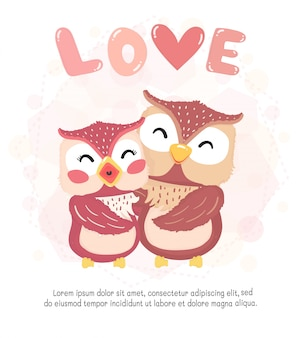 Flat  cute happy couple autumn owl smile, hug with love word, valentine card, cute animal character idea for child and kid printable stuff and t shirt, greeting card, nursery wall art, postcard