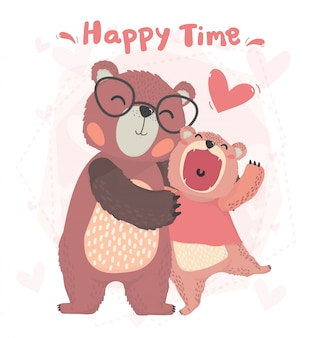 Flat  cute happy daddy and kid autumn teddy bear smile, hug with happy time, valentine card