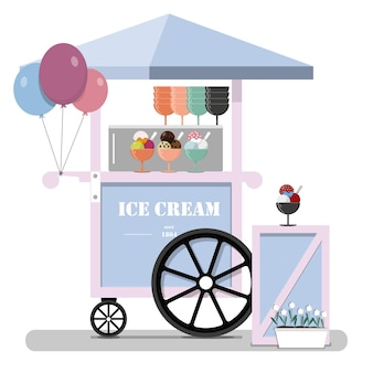 Flat cute ice cream cart point of sale of ice cream in the park at the fair street vector