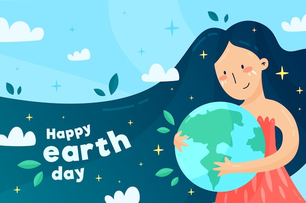 Flat cute illustrated mother earth day