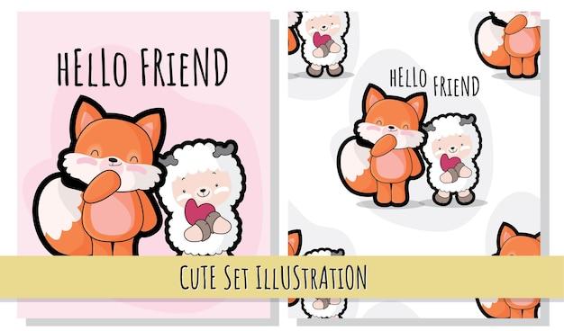 Flat cute illustration fox be love pattern set