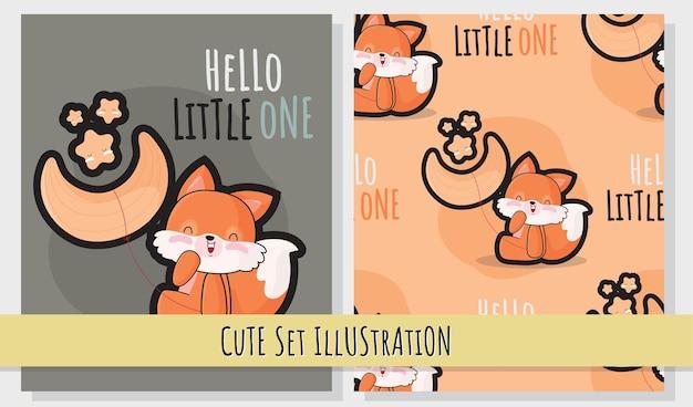 Flat cute illustration set of a cute fox on the moon