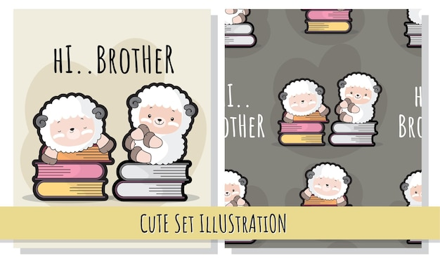 Flat cute illustration sheep on the book illustrations