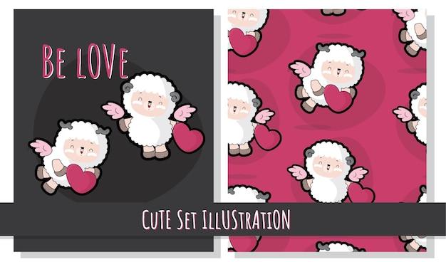 フラットかわいいイラスト羊の妖精の愛