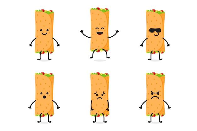 Flat cute kebab character mascot