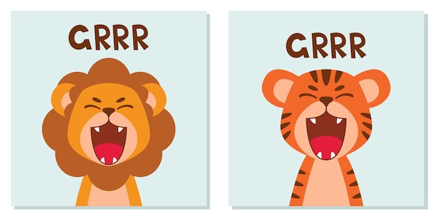 Flat cute lion and tiger open mouth roar. trendy scandinavian style. cartoon animal character isolated on background.