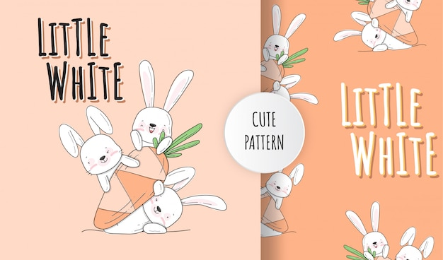Flat cute little bunny animal pattern illustration