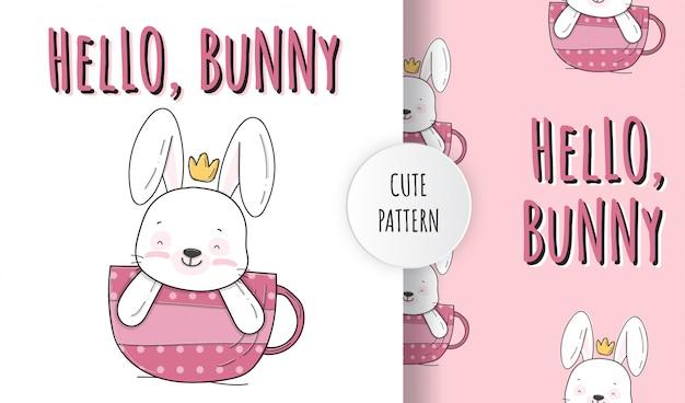 Flat cute little bunny on cup animal pattern illustration