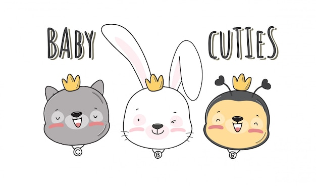 フラットかわいい小さな頭の赤ちゃん動物パターンイラスト