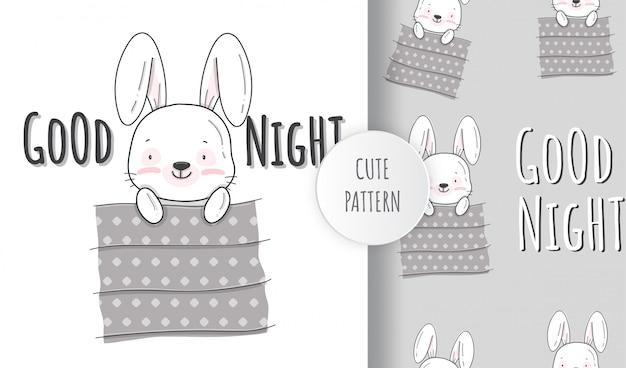 Flat cute little sleeping bunny animal pattern illustration
