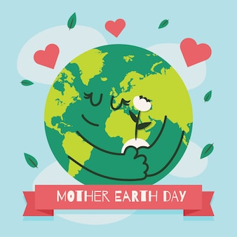 Flat cute mother earth day illustrated
