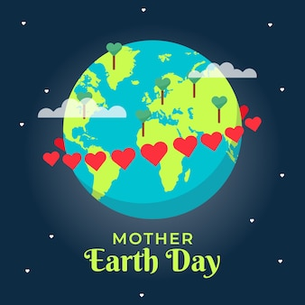 Flat cute mother earth day with lettering