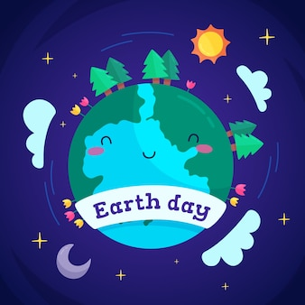 Flat cute mother earth day