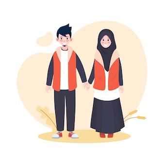 一緒にフラットかわいいイスラム教徒のカップルのヒジャーブ