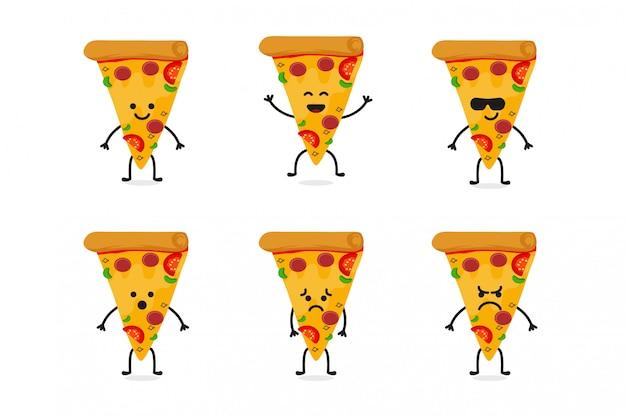 Flat cute pizza character mascot Premium Vector