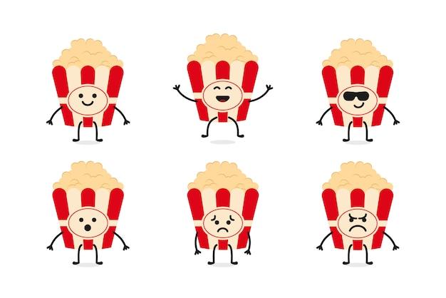 Flat cute popcorn character mascot Premium Vector