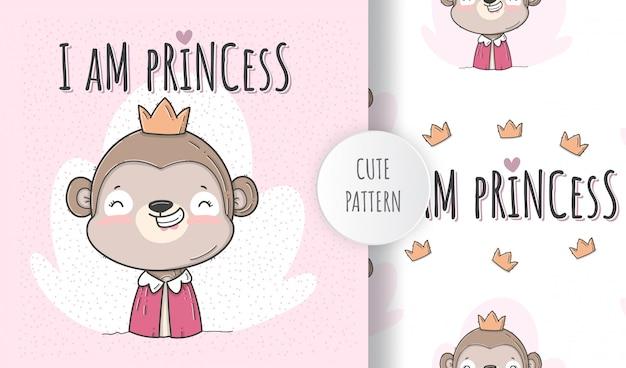 Flat cute seamless pattern  monkey princess