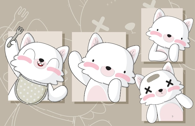 Flat cute set of card baby cat illustrations for kids
