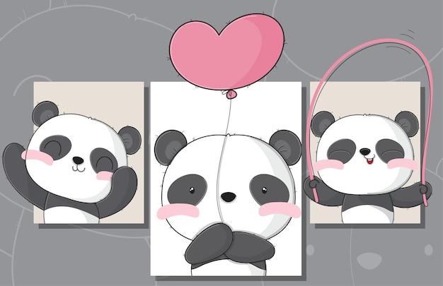 Flat cute set of card baby panda illustrations for kids