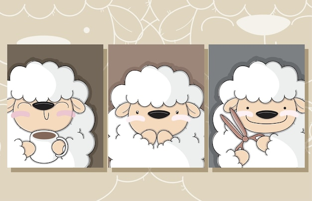Flat cute set of card baby sheep illustrations for kids