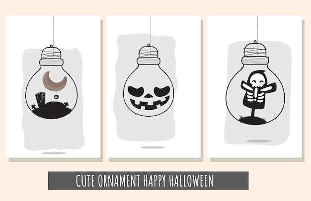 Flat cute set of illustrations happy halloween