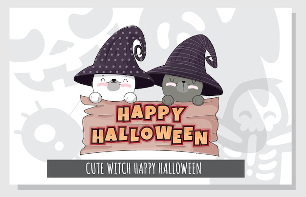 Flat cute set of kitten witch character happy halloween illustration for kids